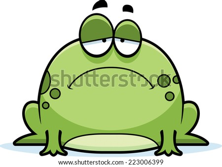 A cartoon illustration of a frog looking sad. - stock vector
