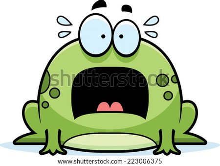 A cartoon illustration of a frog looking scared. - stock vector