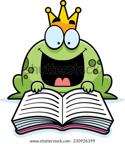 A cartoon illustration of a frog prince reading a book. - stock vector