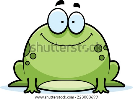 A cartoon illustration of a frog smiling. - stock vector