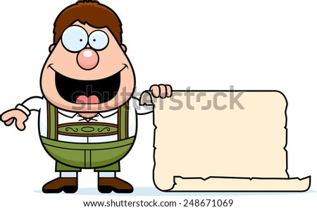 A cartoon illustration of a German boy in lederhosen with a sign. - stock vector