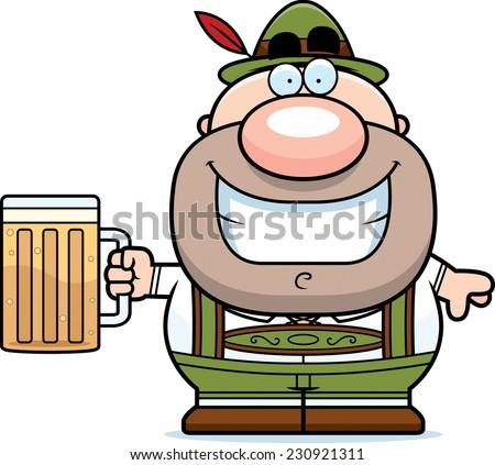 A cartoon illustration of a German man in lederhosen drinking beer. - stock vector