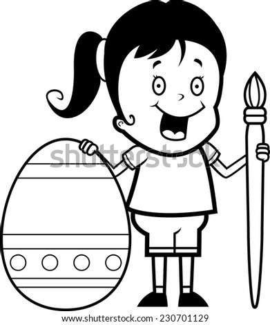 A cartoon illustration of a girl painting an Easter egg.