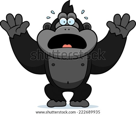 A cartoon illustration of a gorilla panicking. - stock vector