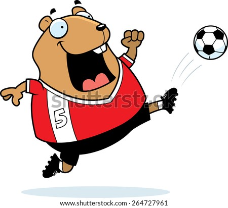 A cartoon illustration of a hamster kicking a soccer ball. - stock vector