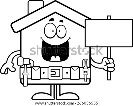 A cartoon illustration of a home improvement house holding a sign. - stock vector