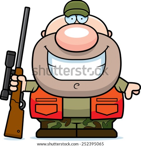 A cartoon illustration of a hunter smiling. - stock vector