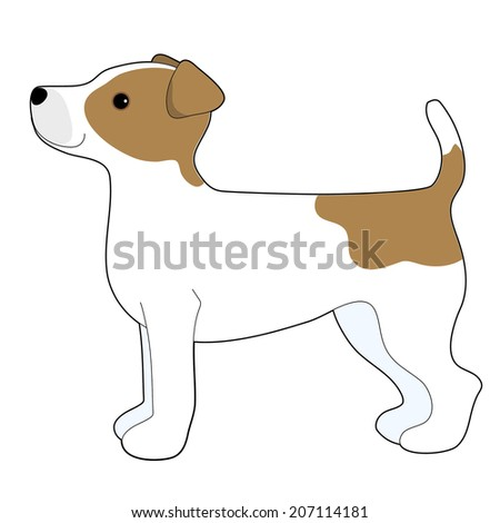 A cartoon illustration of a Jack Russell Terrier - stock vector