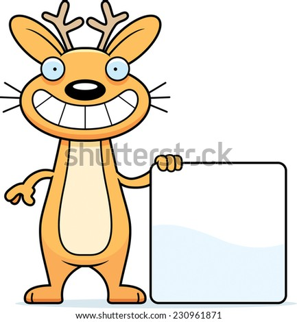 A cartoon illustration of a jackalope with a sign. - stock vector