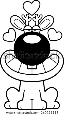 A cartoon illustration of a jackalope with an in love expression. - stock vector