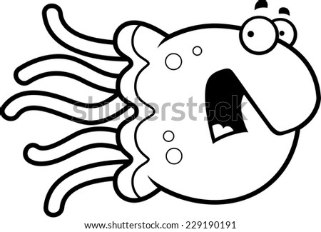 A cartoon illustration of a jellyfish looking scared.