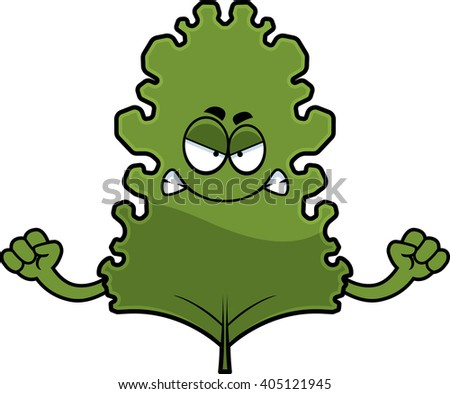 A cartoon illustration of a kale leaf looking angry. - stock vector