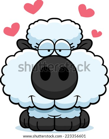 A cartoon illustration of a lamb with an in love expression.