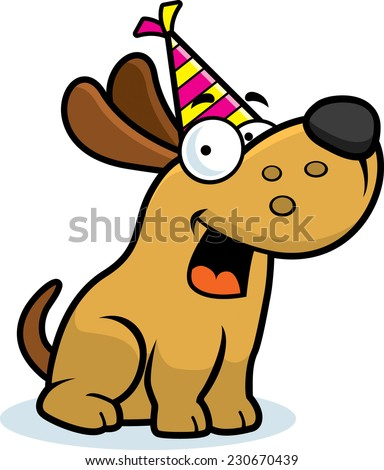 A cartoon illustration of a little dog with a party hat on. - stock vector