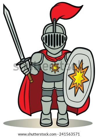 A cartoon illustration of a little knight - stock vector