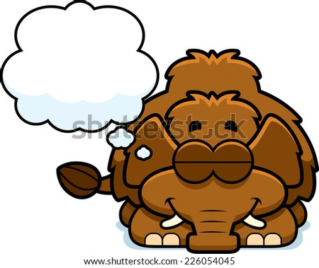 A cartoon illustration of a little mammoth dreaming. - stock vector