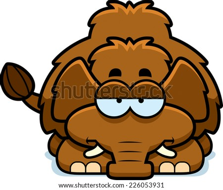 A cartoon illustration of a little mammoth looking bored. - stock vector