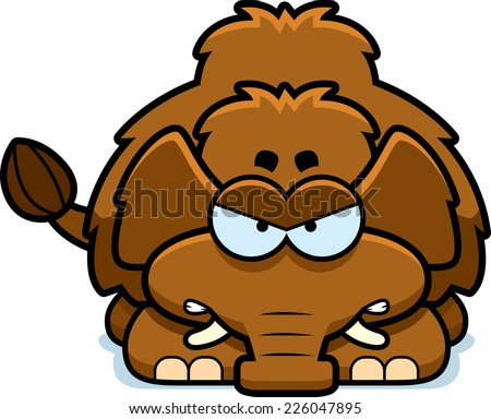 A cartoon illustration of a little mammoth with an angry expression. - stock vector