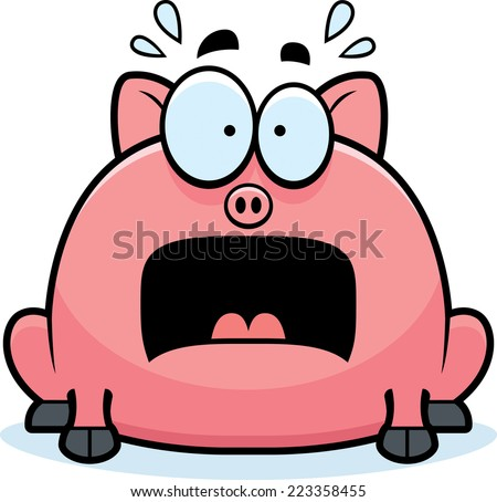 A cartoon illustration of a little pig looking terrified. - stock vector