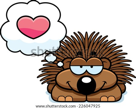 A cartoon illustration of a little porcupine with an in love expression. - stock vector