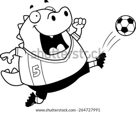 A cartoon illustration of a lizard kicking a soccer ball. - stock vector