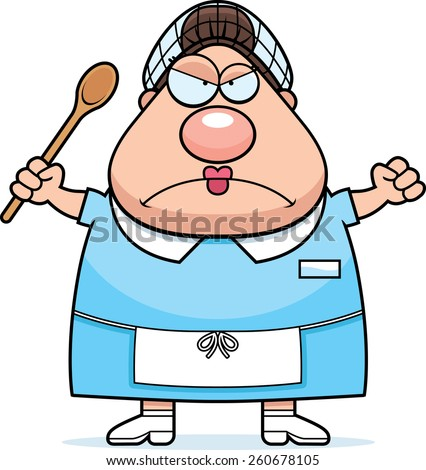 A cartoon illustration of a lunch lady looking angry. - stock vector
