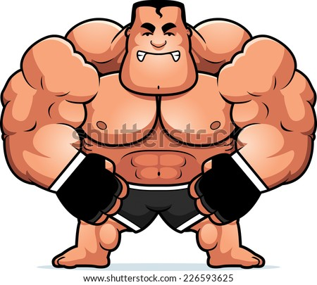 A cartoon illustration of a mma fighter looking angry. - stock vector