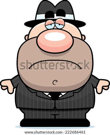 A cartoon illustration of a mobster with a sad expression. - stock vector