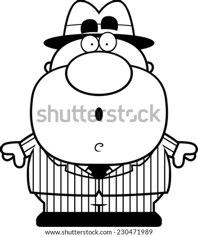 A cartoon illustration of a mobster with a surprised expression. - stock vector