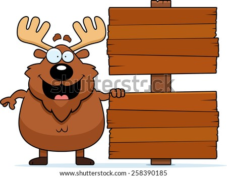 A cartoon illustration of a moose with a sign. - stock vector
