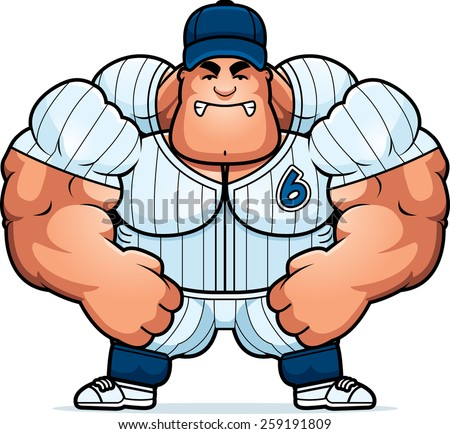 A cartoon illustration of a muscular baseball player looking angry. - stock vector