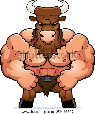A cartoon illustration of a muscular minotaur flexing. - stock vector