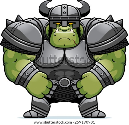A cartoon illustration of a muscular orc in armor. - stock vector