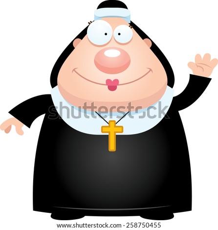 A cartoon illustration of a nun waving. - stock vector