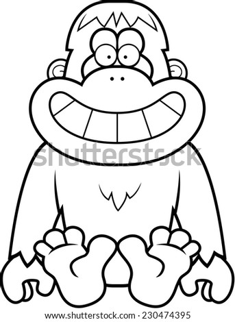 A cartoon illustration of a orangutan sitting.