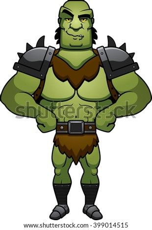 A cartoon illustration of a orc man looking confident.