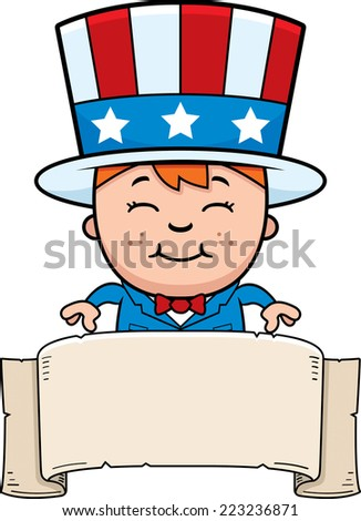 A cartoon illustration of a patriotic boy with a banner.