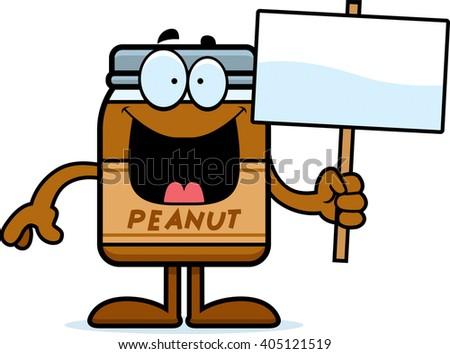 A cartoon illustration of a peanut butter jar holding a sign. - stock vector