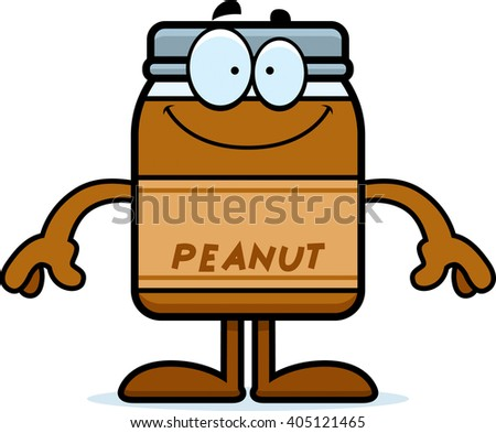 A cartoon illustration of a peanut butter jar looking happy. - stock vector