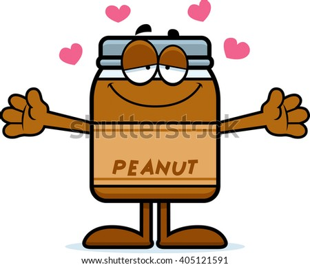 A cartoon illustration of a peanut butter jar ready to give a hug. - stock vector