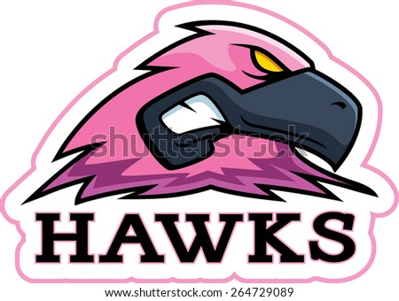 A cartoon illustration of a pink hawk mascot head. - stock vector