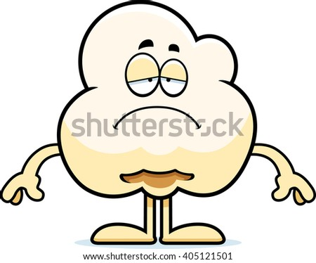 A cartoon illustration of a popcorn kernel looking sad. - stock vector