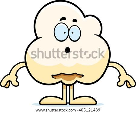 A cartoon illustration of a popcorn kernel looking surprised. - stock vector