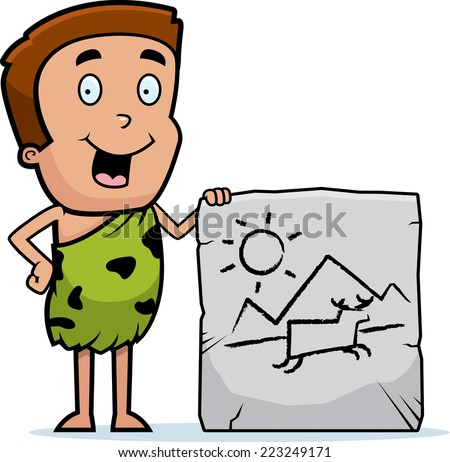 A cartoon illustration of a prehistoric little boy with a cave painting. - stock vector