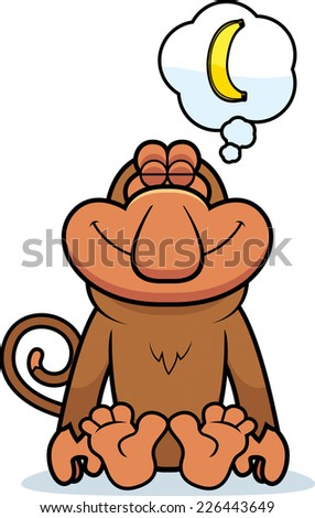 A cartoon illustration of a proboscis monkey dreaming of a banana.