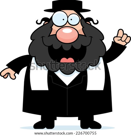 A cartoon illustration of a rabbi with an idea. - stock vector