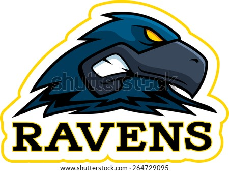 A cartoon illustration of a raven mascot head. - stock vector