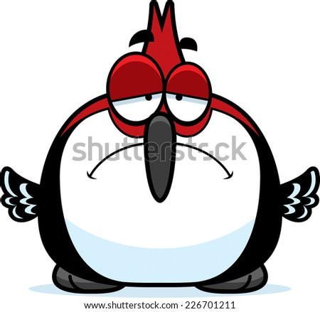A cartoon illustration of a red-headed woodpecker looking sad. - stock vector
