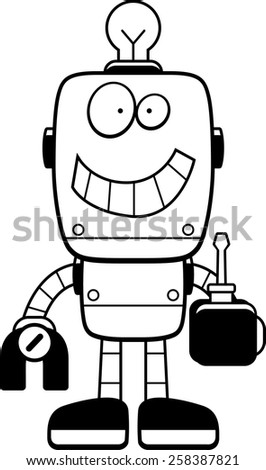 A cartoon illustration of a robot holding a screwdriver.