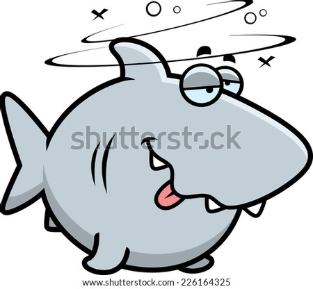 A cartoon illustration of a shark looking drunk. - stock vector
